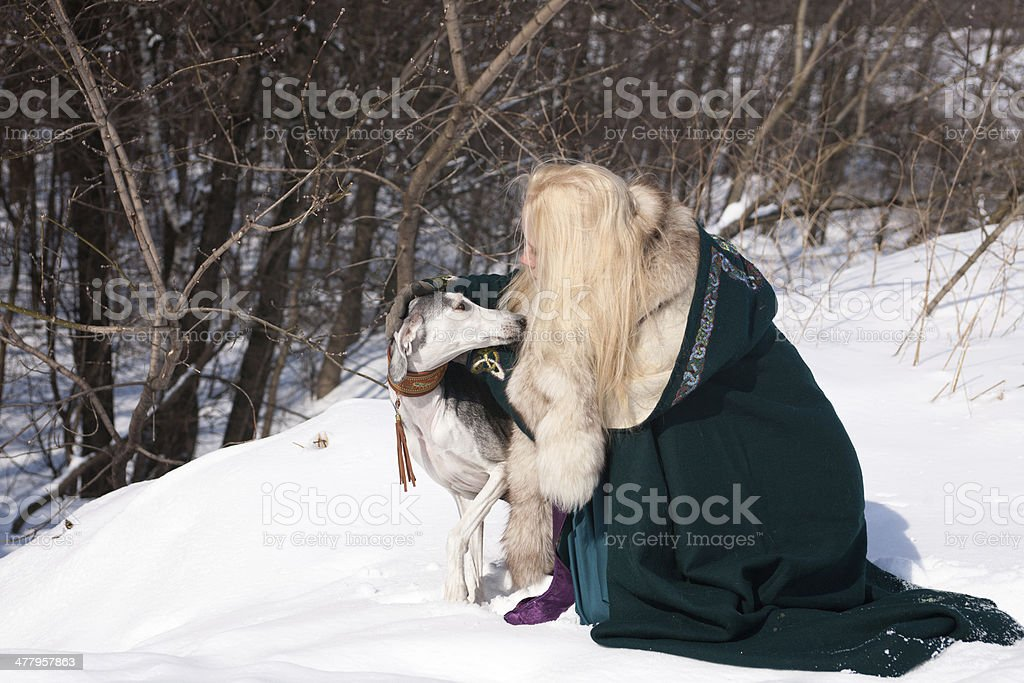 Blonde and saluki royalty-free stock photo