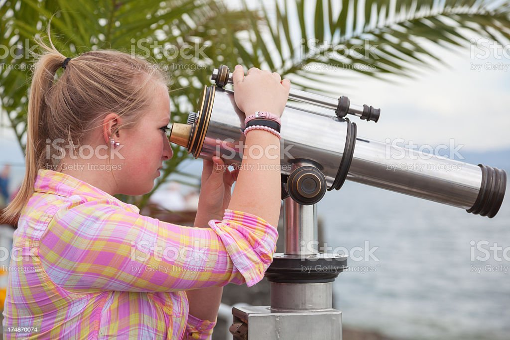 Blonde and Telescope royalty-free stock photo