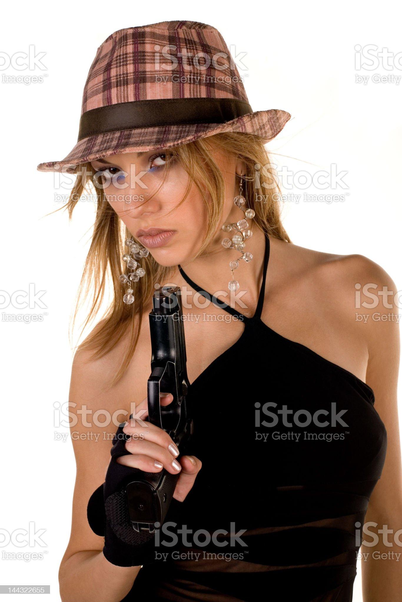 blonde beauty and handgun royalty-free stock photo