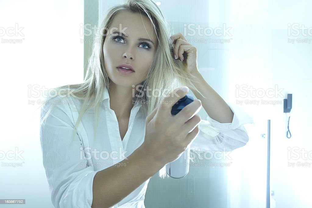 Blonde beauty haircare stock photo