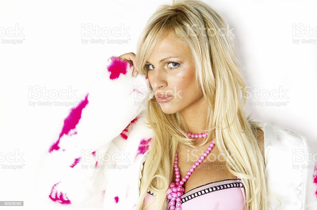 Blonde Beauty in Pink Lingerie 11 royalty-free stock photo