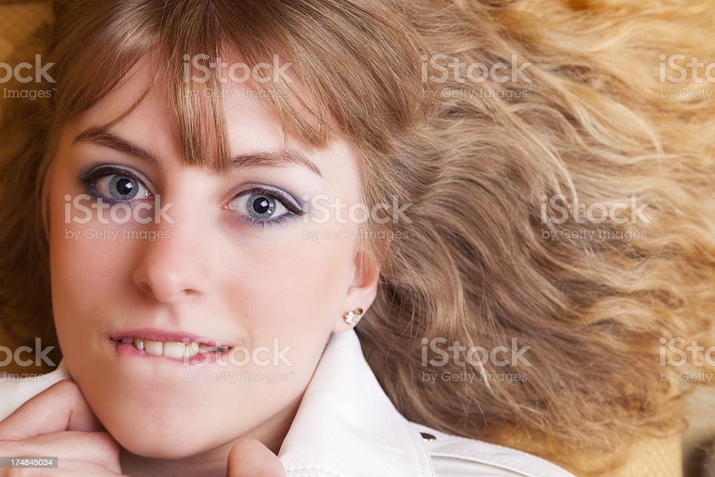 Blonde Biting Her Lip royalty-free stock photo