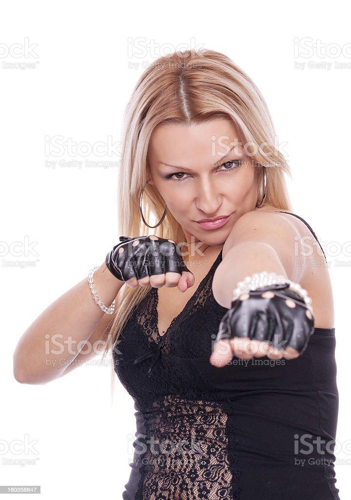 Blonde boxing exercise royalty-free stock photo