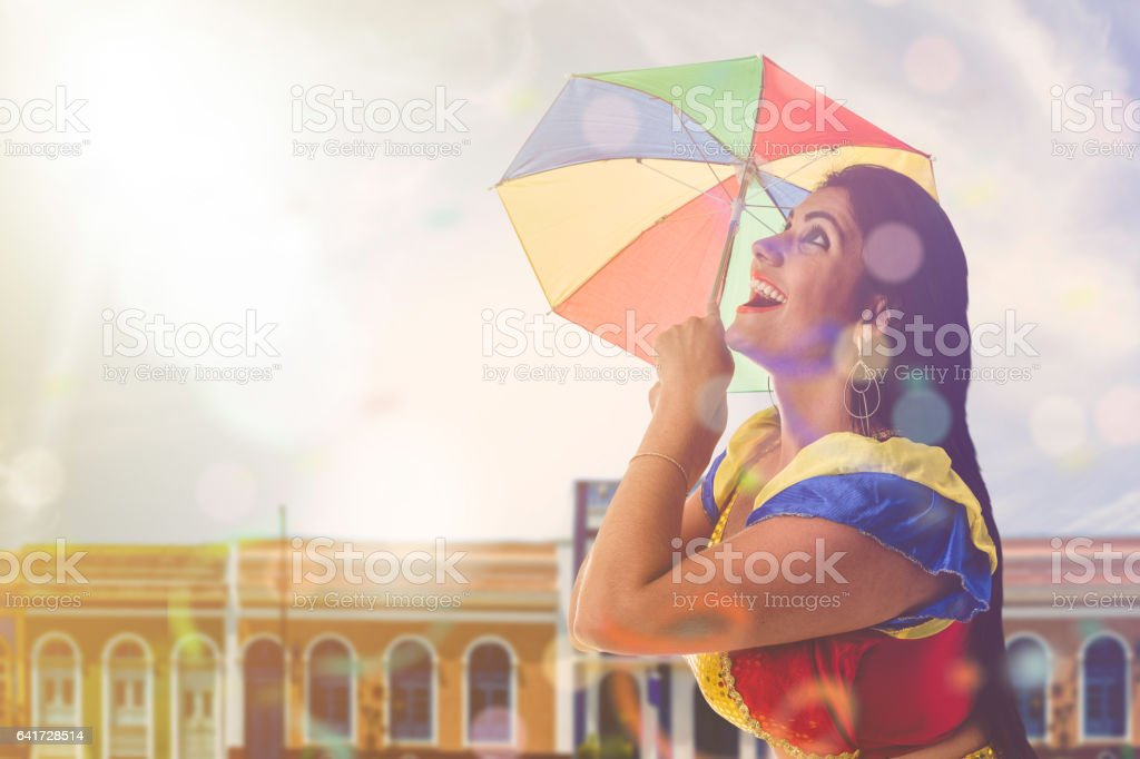 Blonde Brazilian female dancing Frevo in Pernambuco stock photo