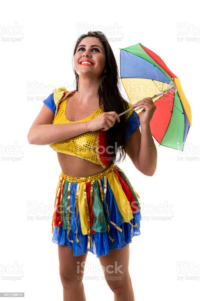 Blonde Brazilian female dancing Frevo on white background stock photo