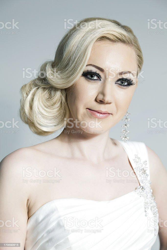 blonde bride in studio stock photo