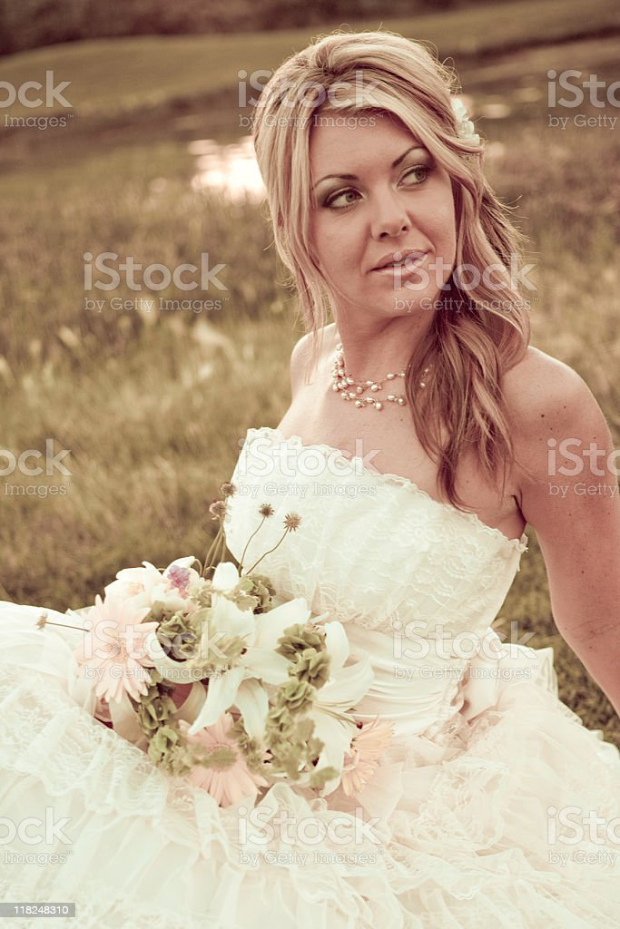 Blonde Bride with Flowers stock photo