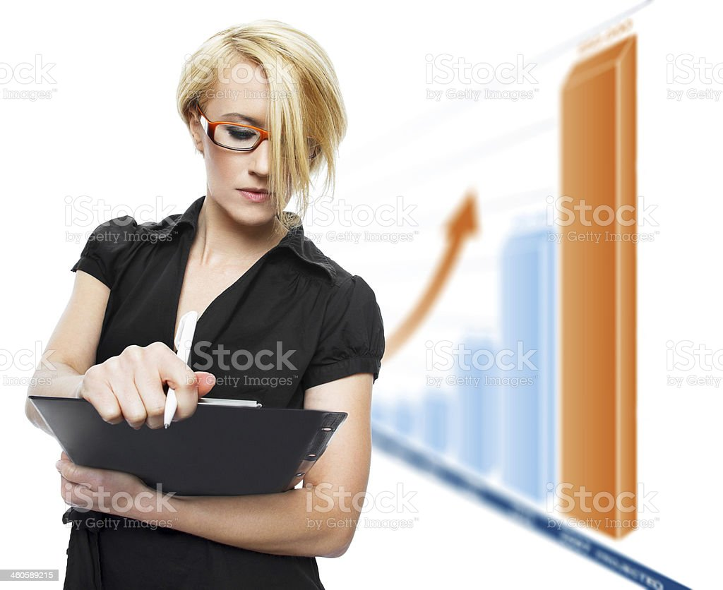 Blonde businesswoman with growth chart royalty-free stock photo