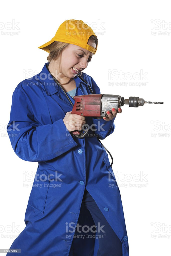 Blonde Cute Little Construction Girl With Drill royalty-free stock photo