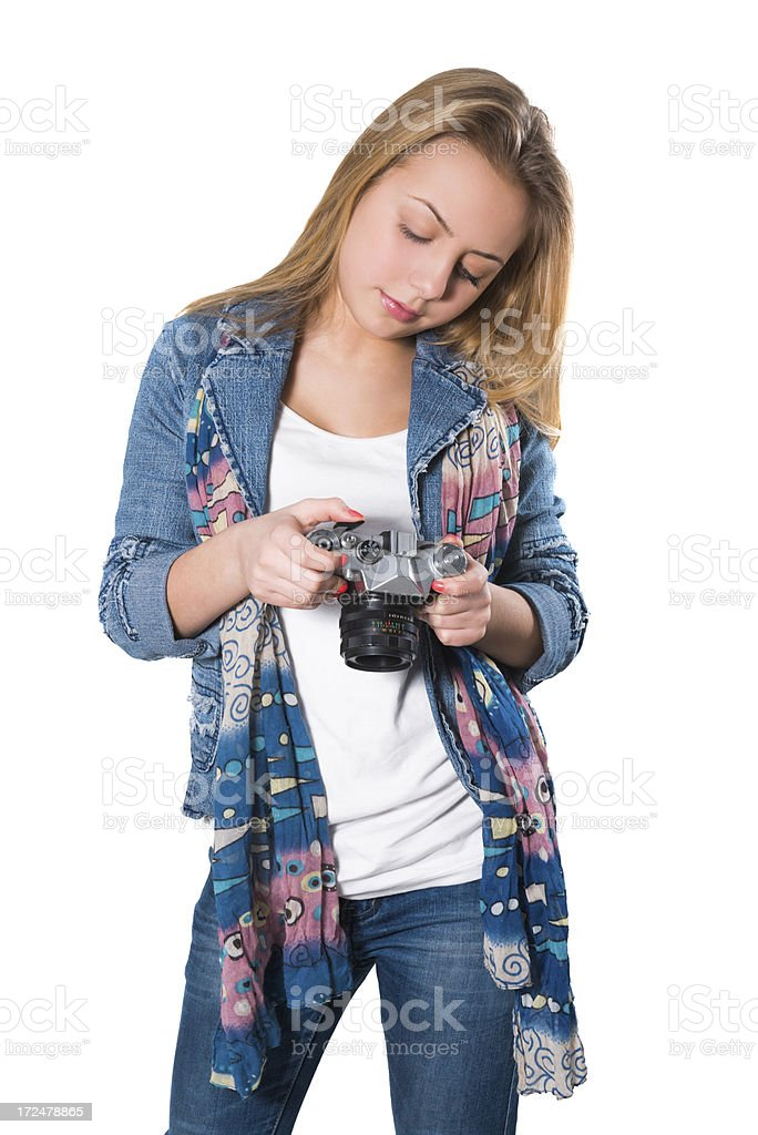 Blonde Cute Little Girl Photographer with Camera royalty-free stock photo