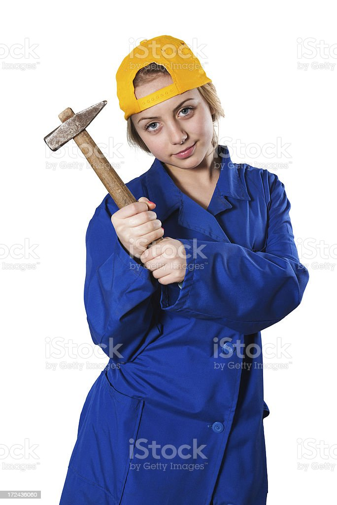 Blonde Cute Little Mechanic Girl With Hammer royalty-free stock photo
