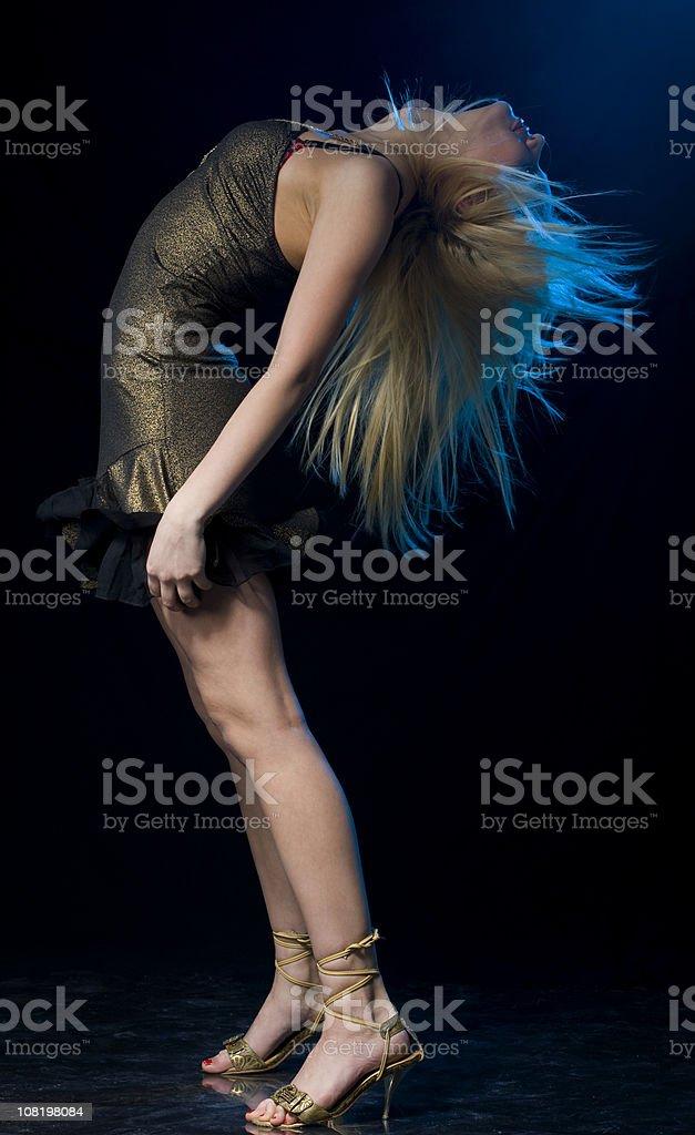 Blonde diva dancing royalty-free stock photo