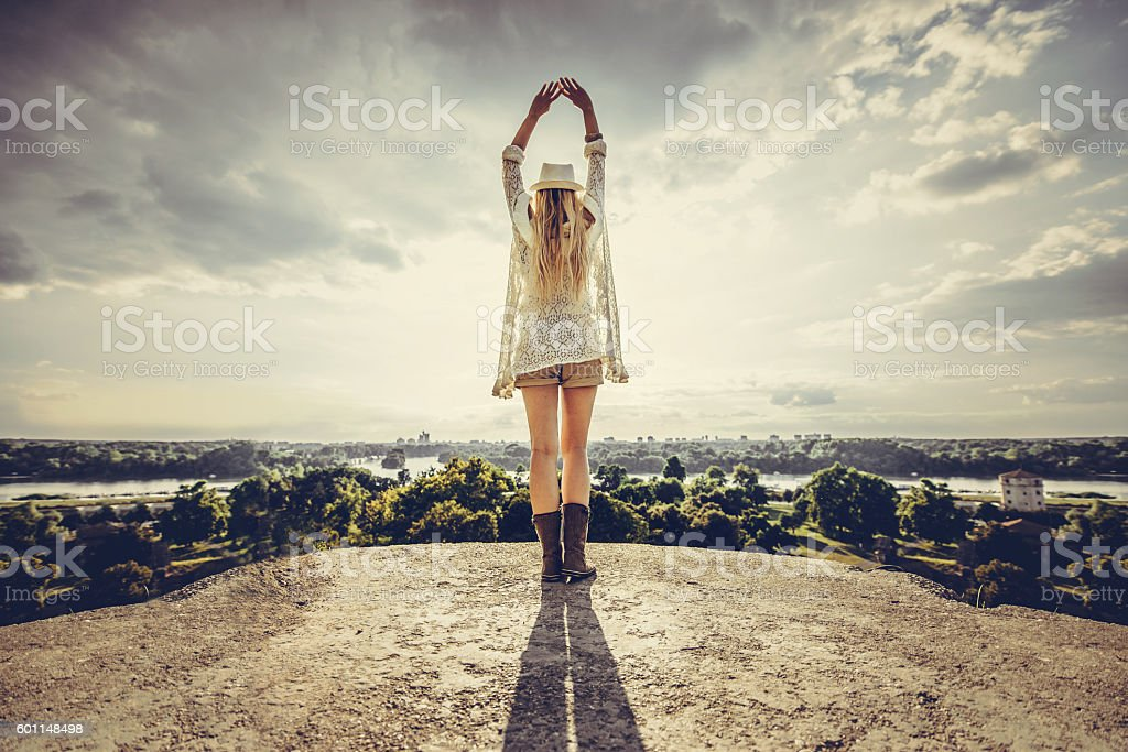 Blonde enjoying the view stock photo