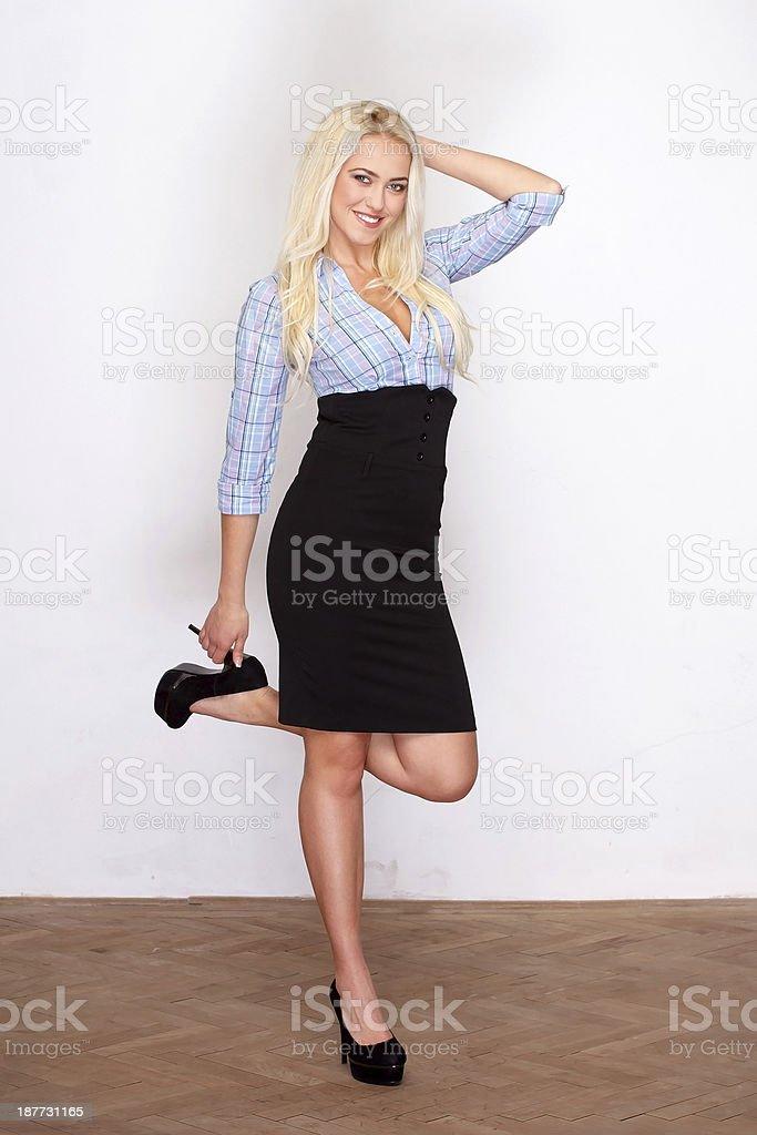 Blonde fashionable model royalty-free stock photo