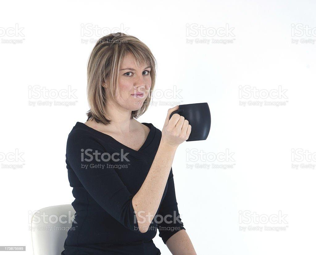 Blonde Female and Coffee Mug stock photo
