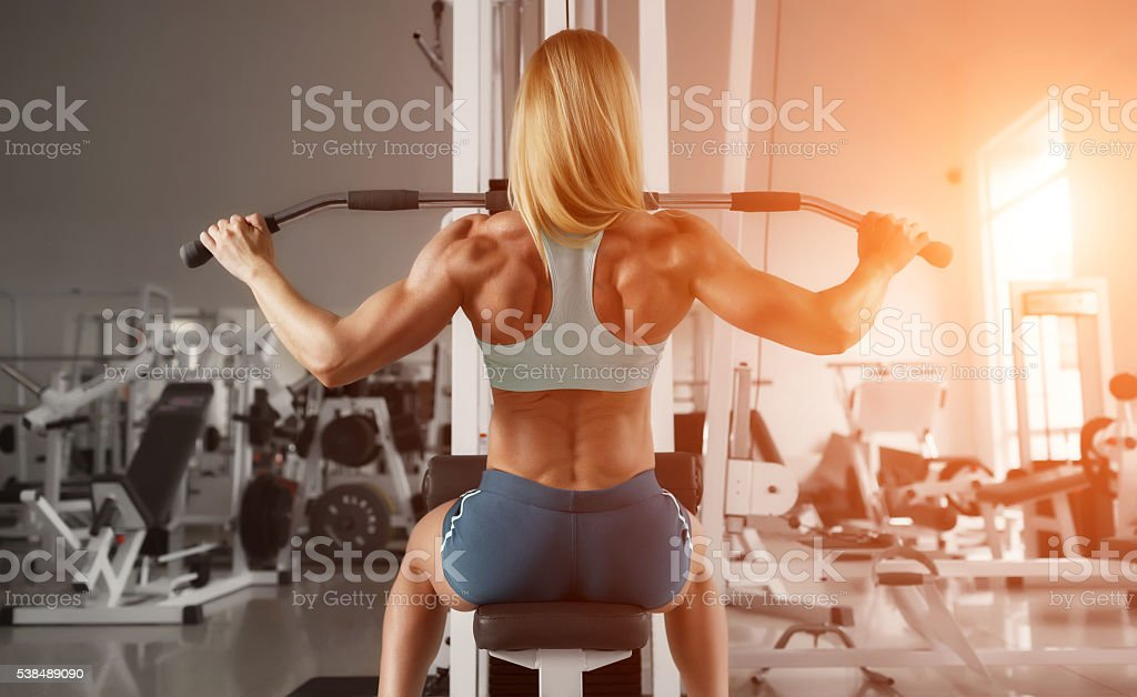 Blonde fitness girl stock photo