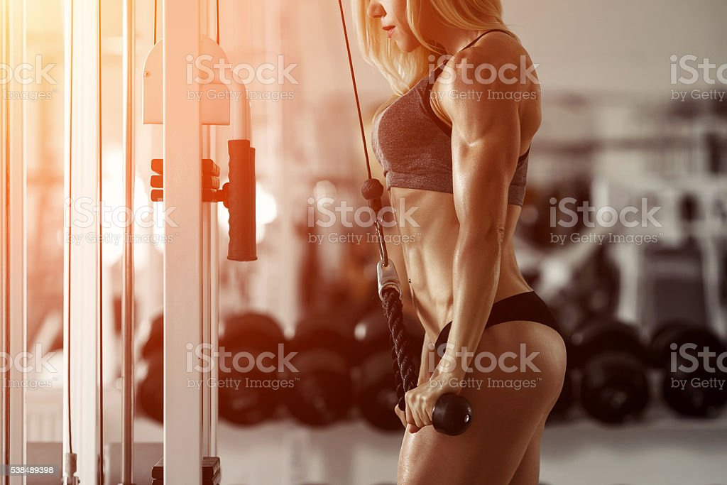 Blonde fitness girl stock photo