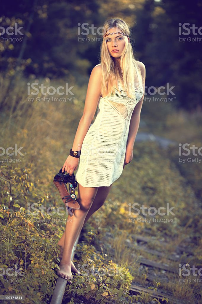 blonde girl an rails stock photo