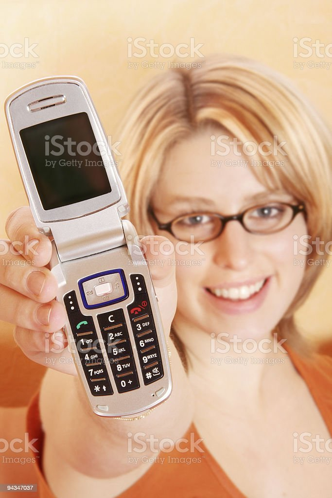 Blonde girl has a message for you stock photo