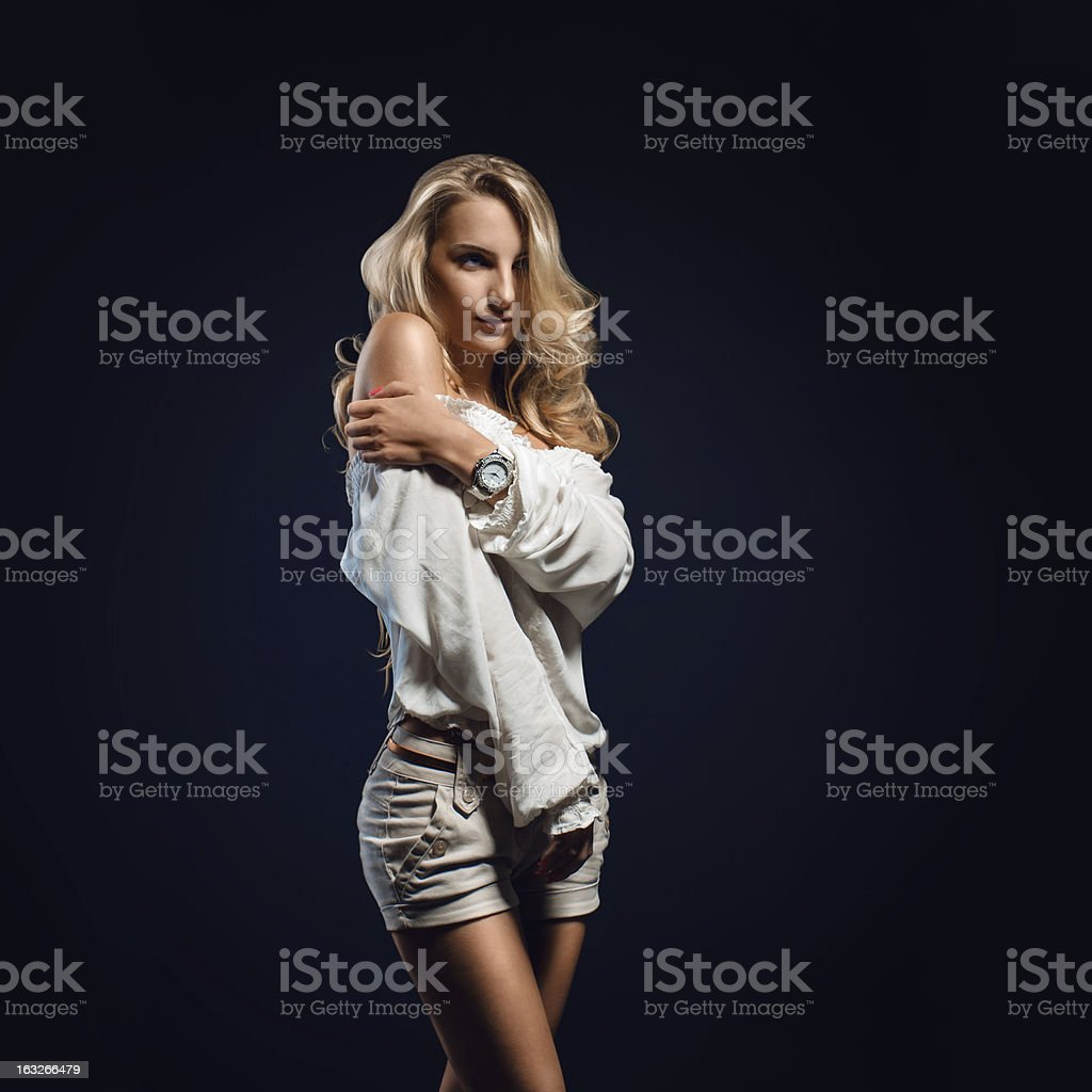 Blonde girl in casual clothing royalty-free stock photo