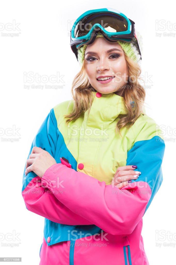 blonde girl in snowboard costume stock photo