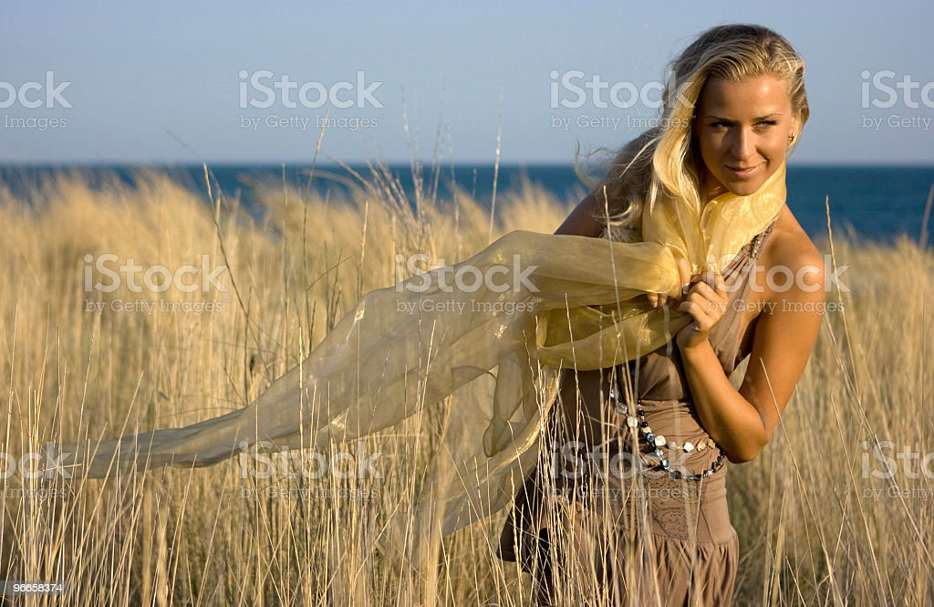 Blonde girl in the field royalty-free stock photo