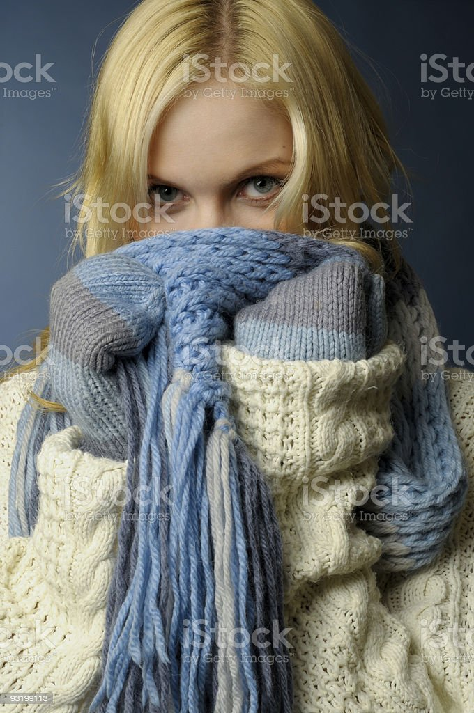blonde girl in winter clothes royalty-free stock photo