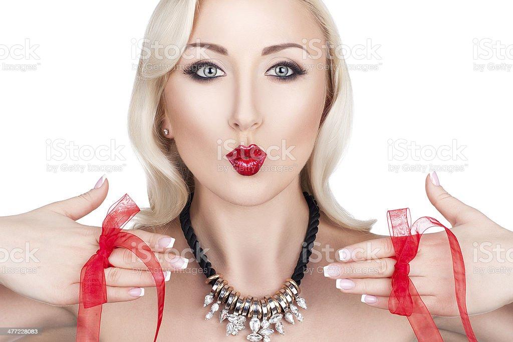 Blonde girl kiss. royalty-free stock photo