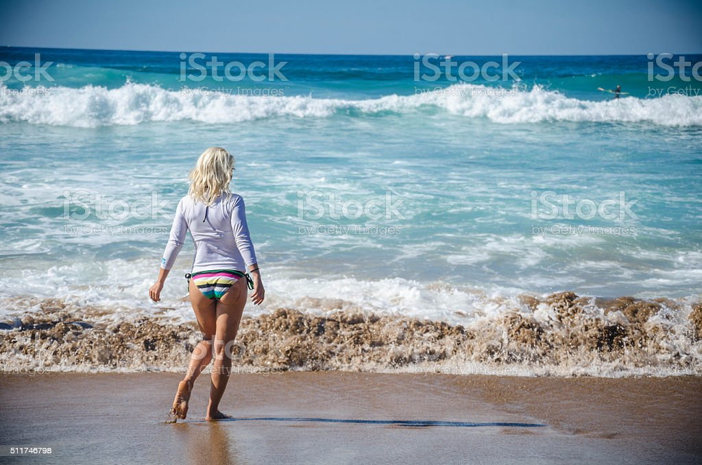 Blonde Girl on the Beach stock photo
