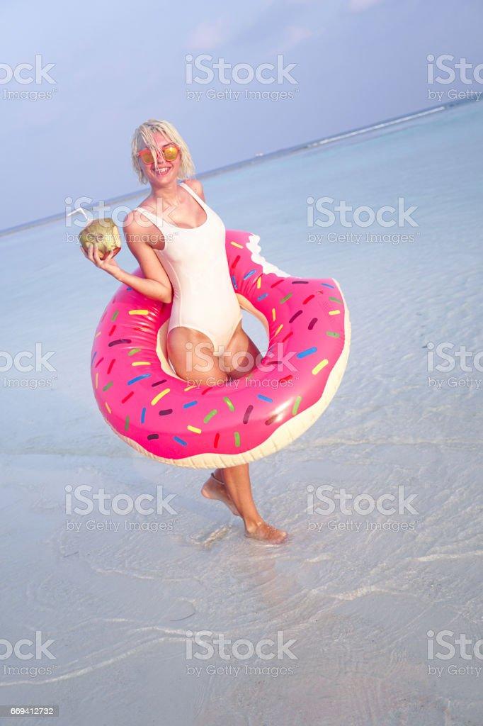 Blonde girl on vacation, Maldives stock photo