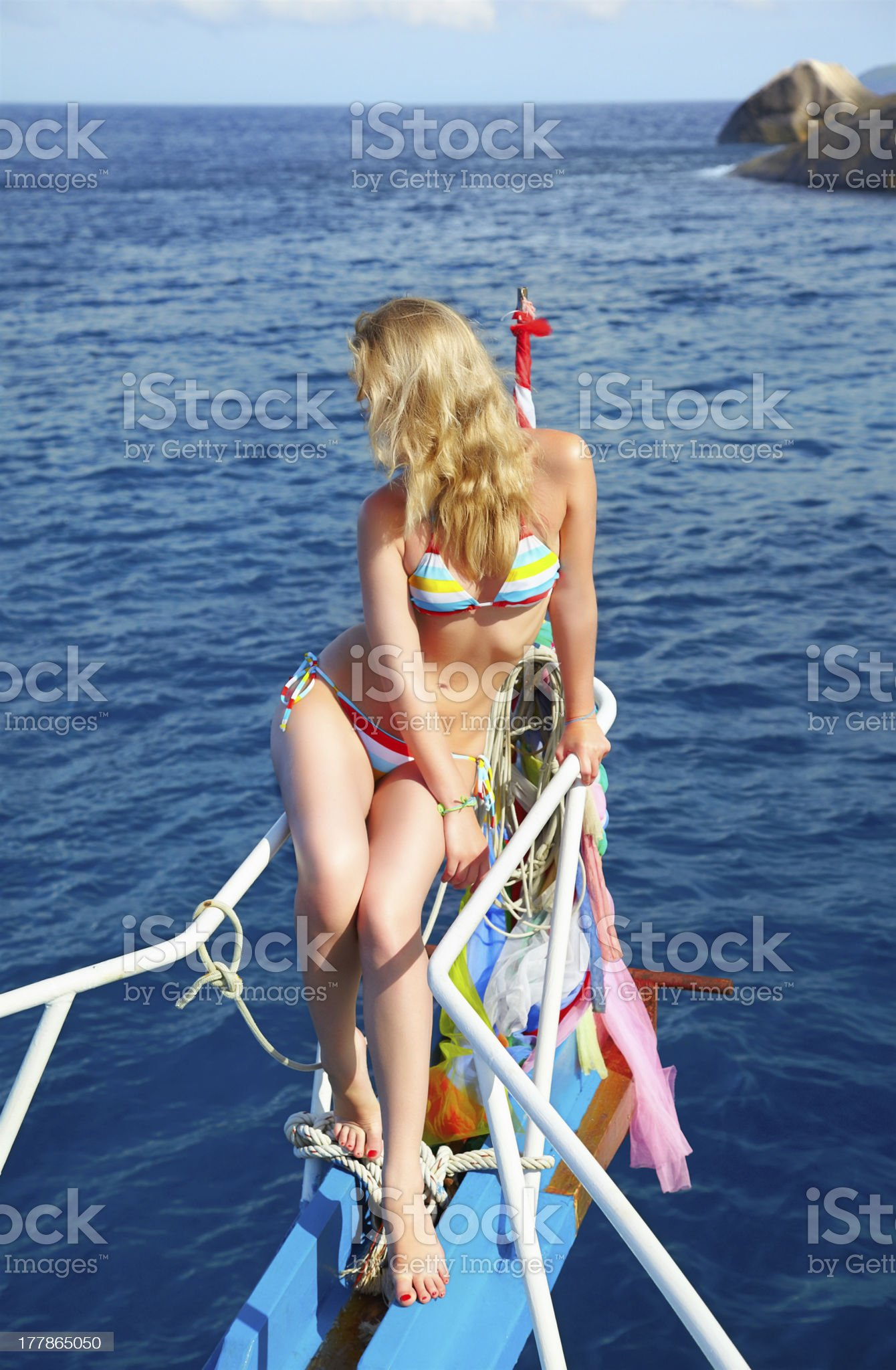 blonde girl on yacht royalty-free stock photo
