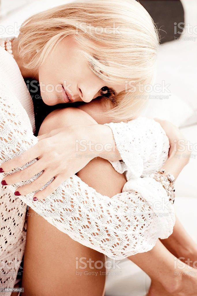Blonde girl portrait stock photo