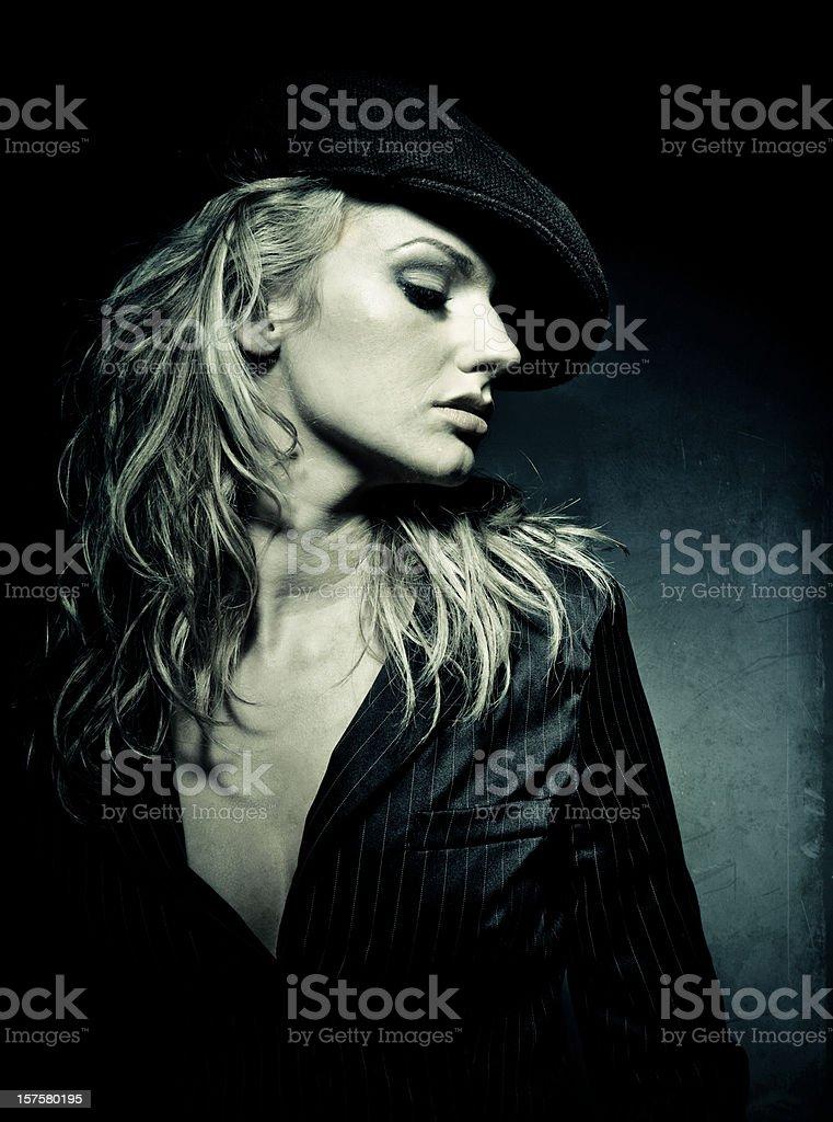 blonde girl vintage portrait stock photo