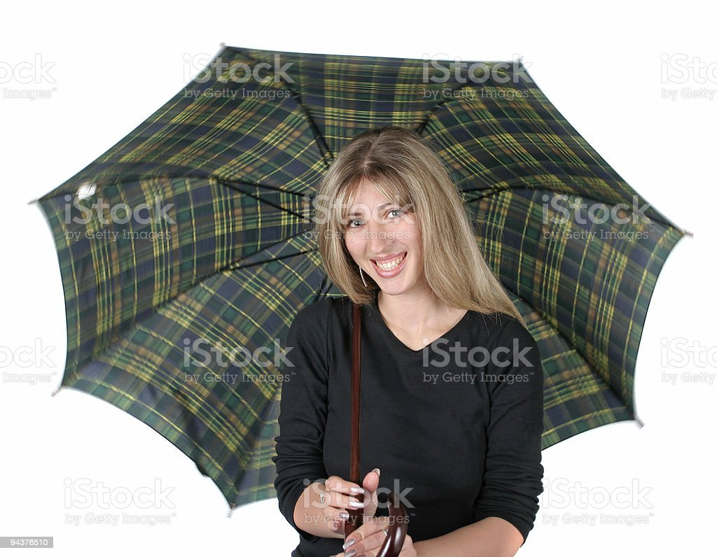 Blonde girl with an umbrella royalty-free stock photo