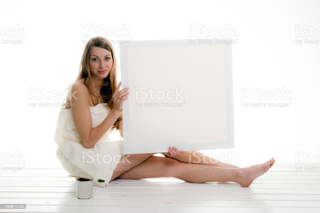 Blonde girl with blank space royalty-free stock photo