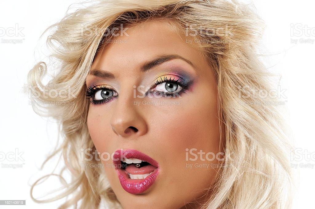 blonde fille avec maquillage Colorful photo libre de droits