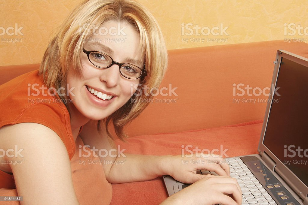 Blonde girl with notebook royalty-free stock photo