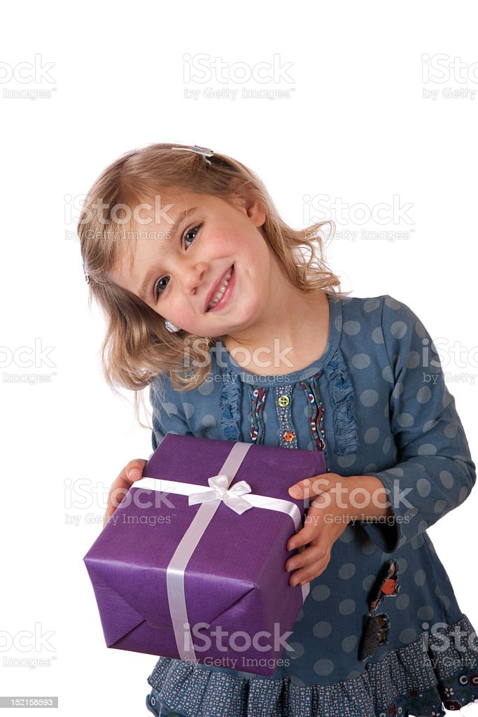 Blonde girl with purple wrapped present royalty-free stock photo