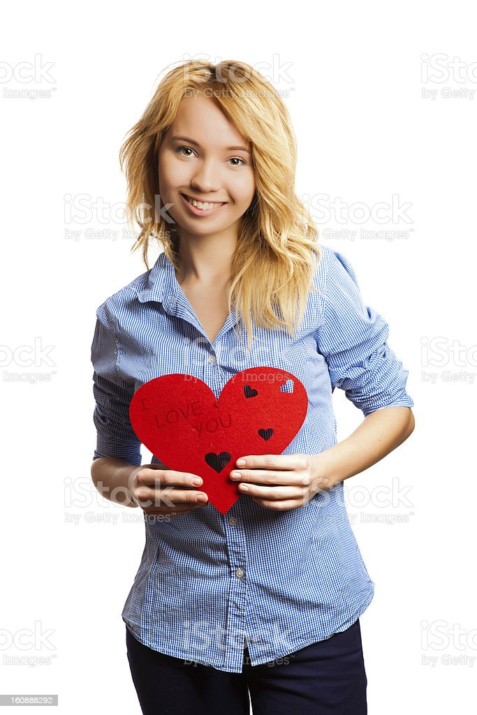 Blonde girle holding red heart-shape royalty-free stock photo