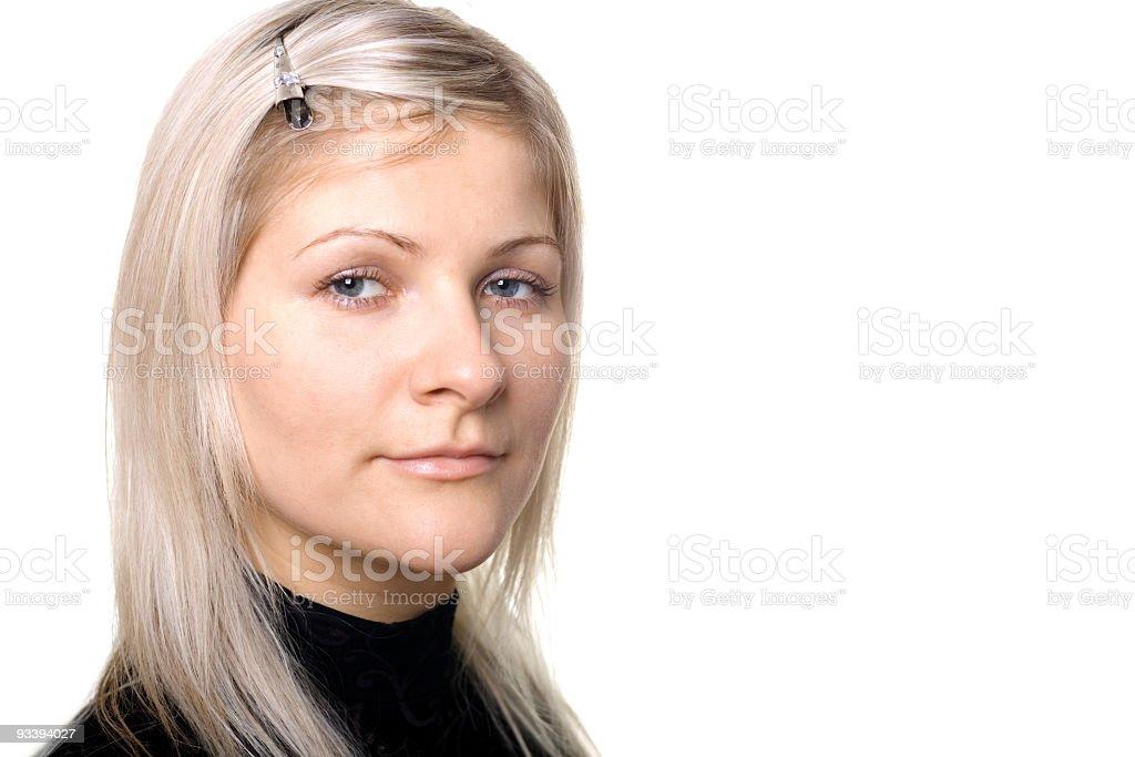 Blonde girl`s portrait stock photo