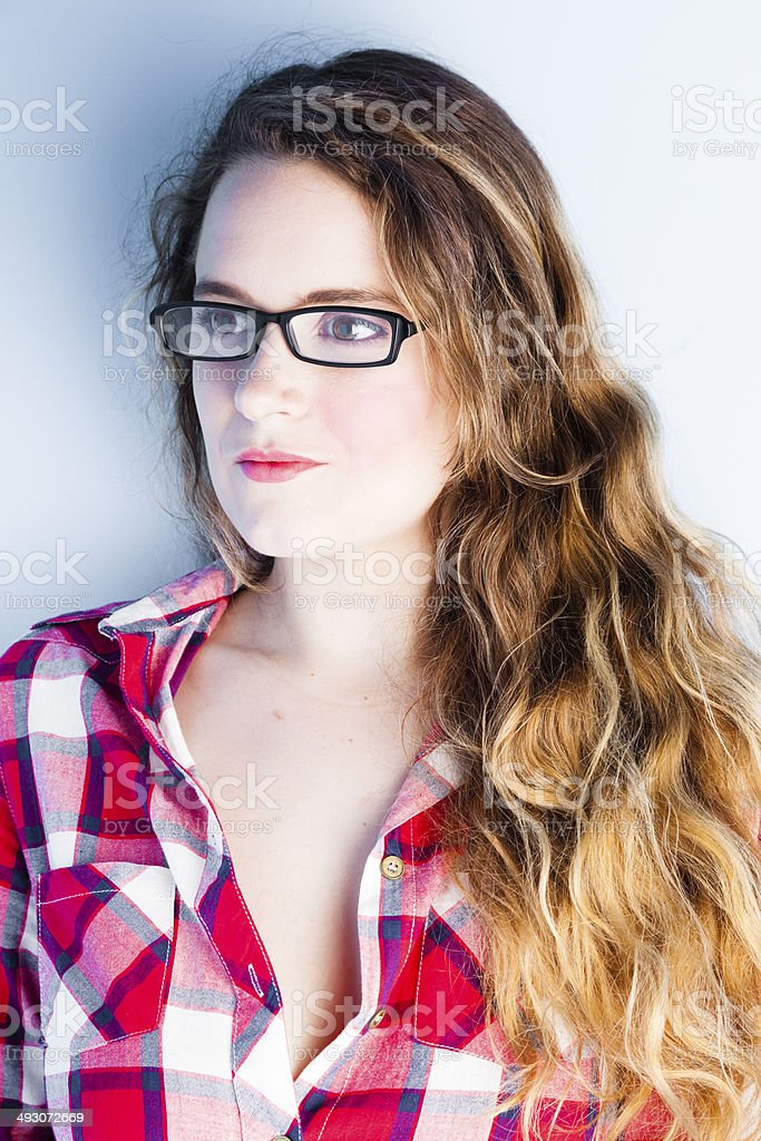 Blonde In A Checked Shirt royalty-free stock photo
