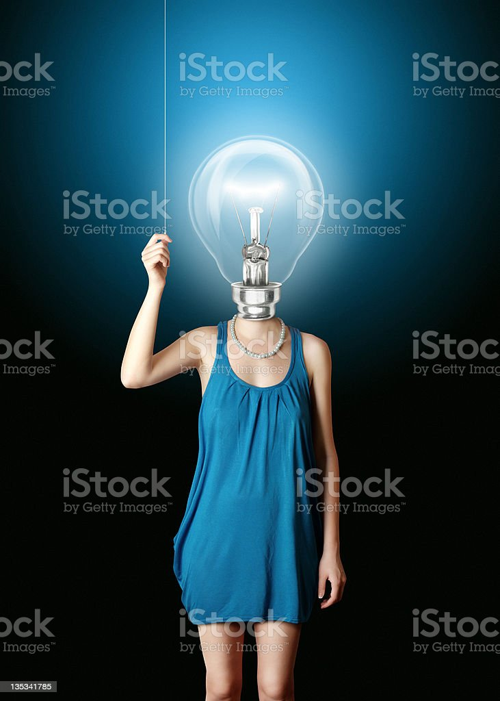 blonde in blue turn on the bulbhead royalty-free stock photo