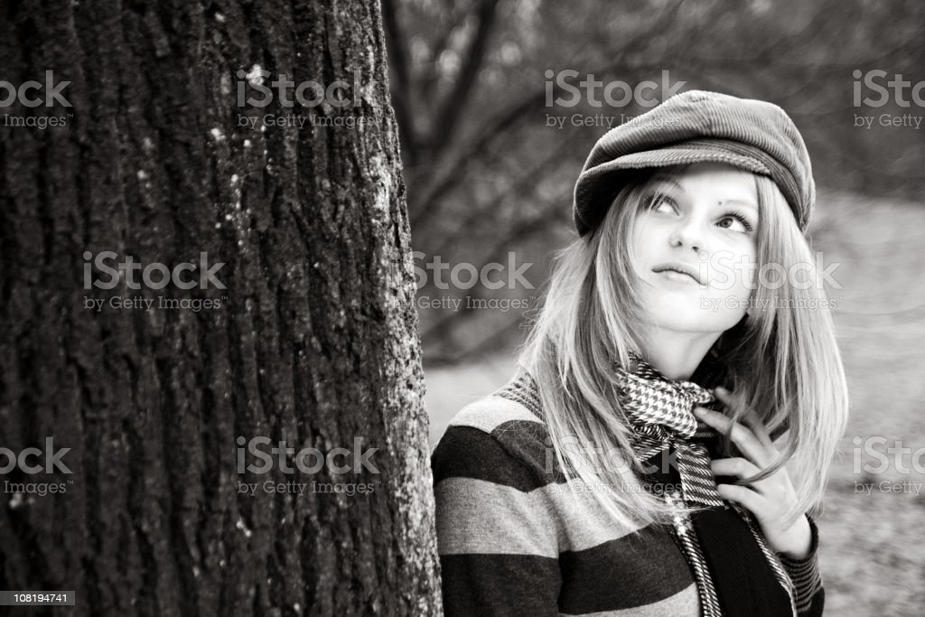 Blonde in cap stock photo