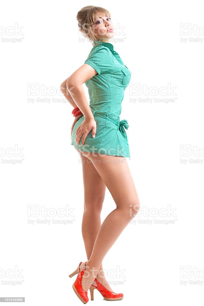 blonde in green dress royalty-free stock photo