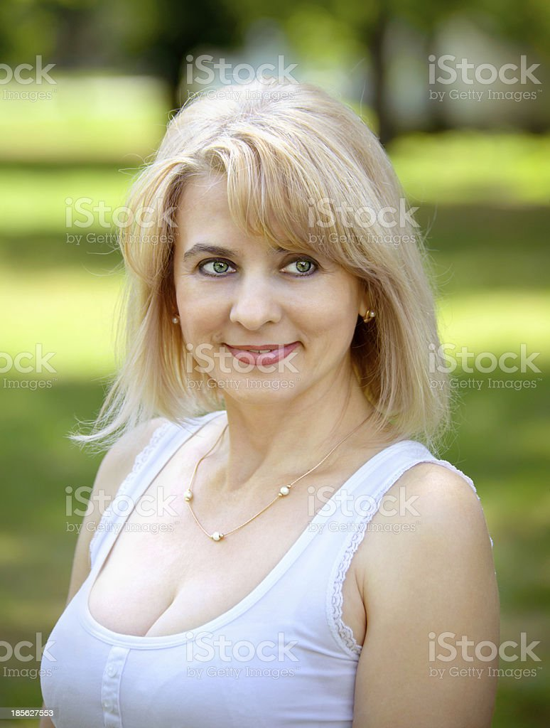 Blonde in the park royalty-free stock photo