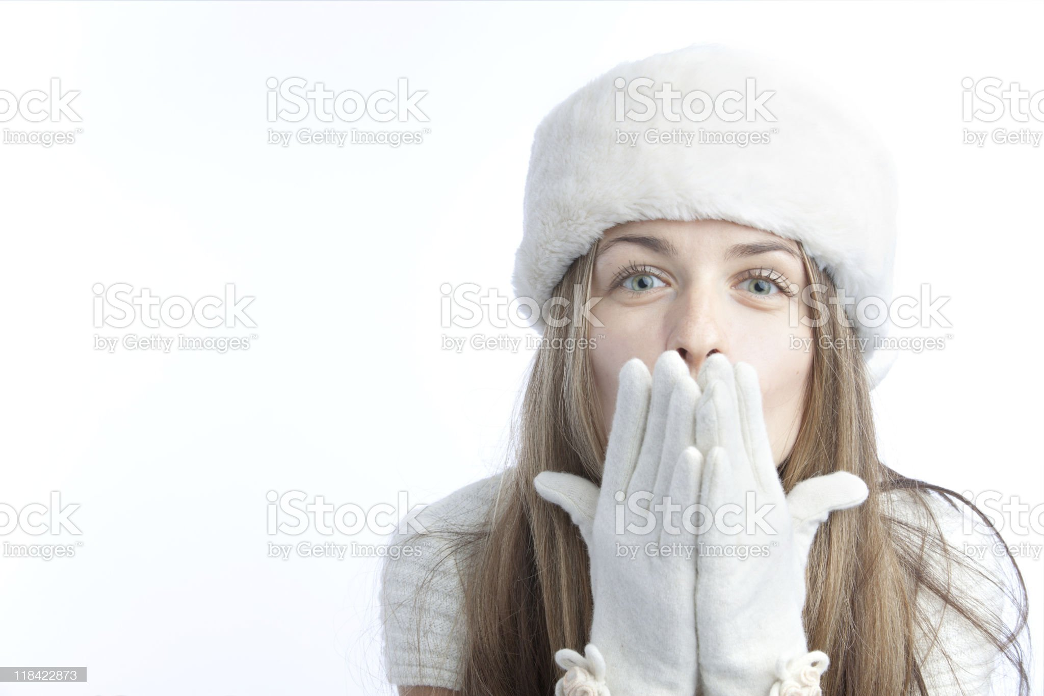 blonde in the white winter hat royalty-free stock photo