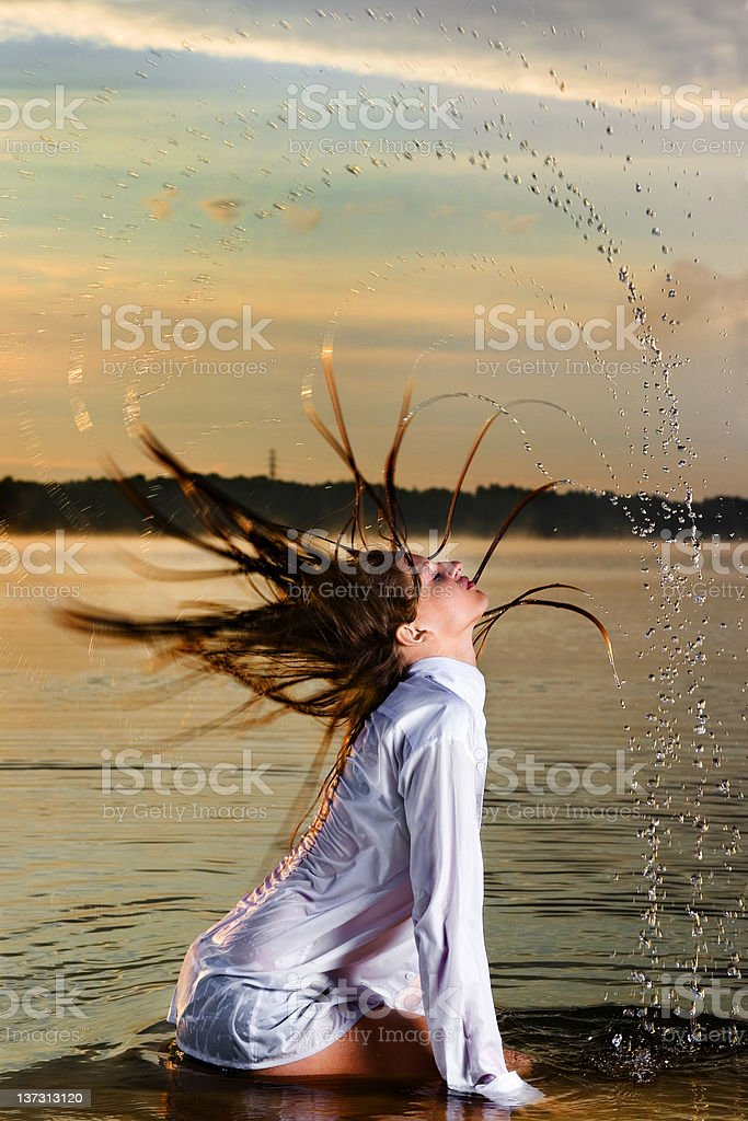 Blonde in water royalty-free stock photo