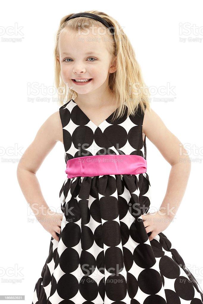 Blonde Little Girl in Polka-dot Dress royalty-free stock photo