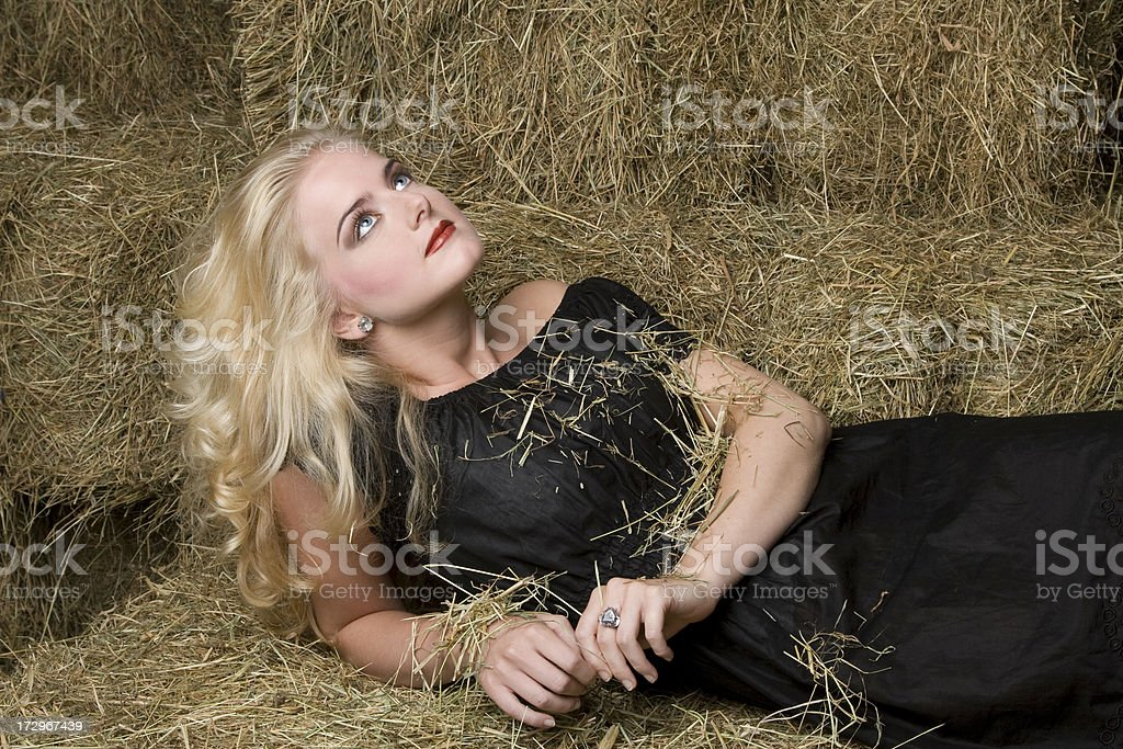 Blonde looking up stock photo