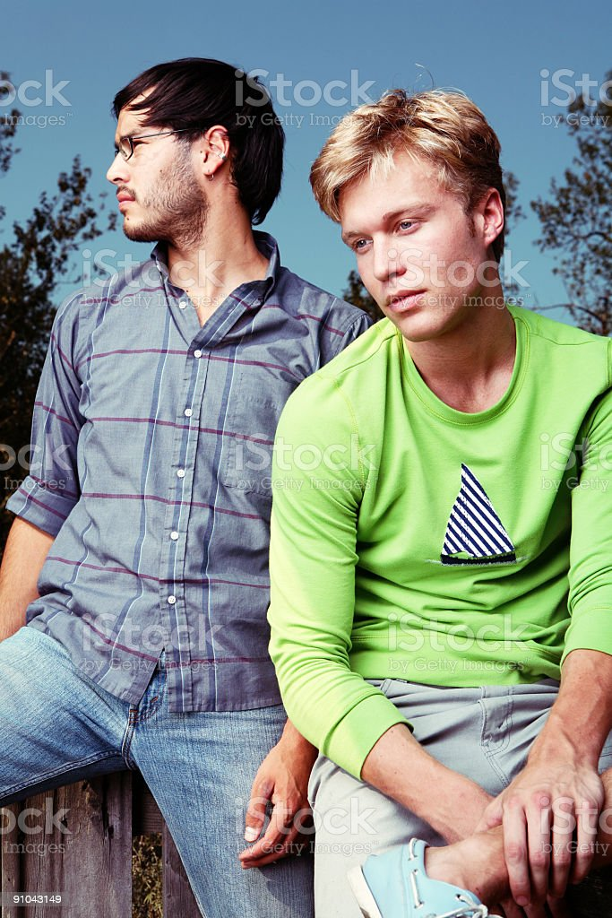 Blonde Male And Brunette Friends Posing. royalty-free stock photo